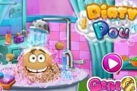 Pou nimmt ein Bad
